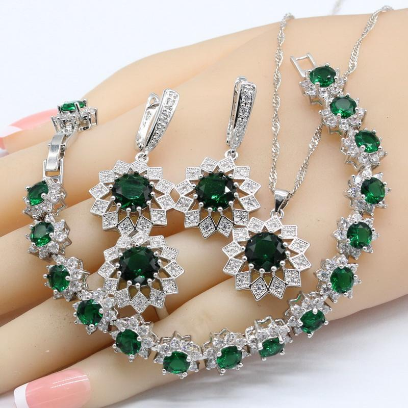 Green Crystal White Zirconia 925 Silver Wedding Jewelry Sets For Women  Necklace Pendant Earrings Rings Bracelets Bridal Jewelry Sets Cheap Bridal  Jewelry ... 3a4010f5ebe4