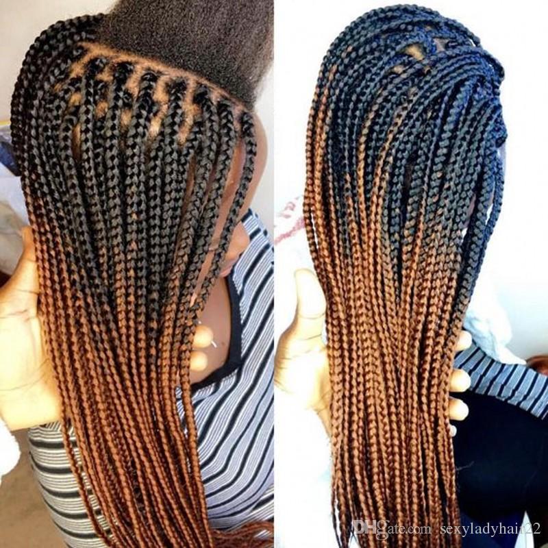 Stok ombre kahverengi renk orta örgülü dantel ön peruk afrika amerikan kadınlar için iki ton sentetik Örgülü Peruk