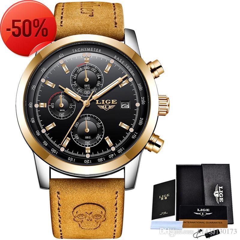 5cbb8ca12af Compre Lige Mens Watches Top Brand Luxury Leather Casual Reloj De Cuarzo  Hombres Military Sport Reloj Impermeable Reloj De Oro Relogio Masculino A   2.83 Del ...