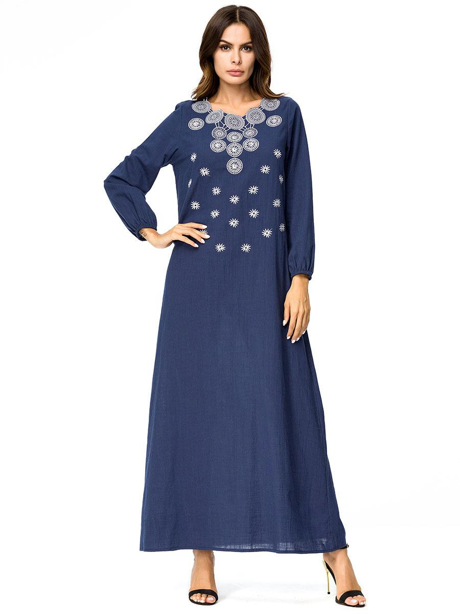 Siskakia Solid Geometry Embroidery Maxi Long Dress Brief Elegant Urban  Casual Women Dresses Autumn 2018 Slim Plus Size 3XL 4XL Online with  27.43  Piece on ... 1e31e1476940