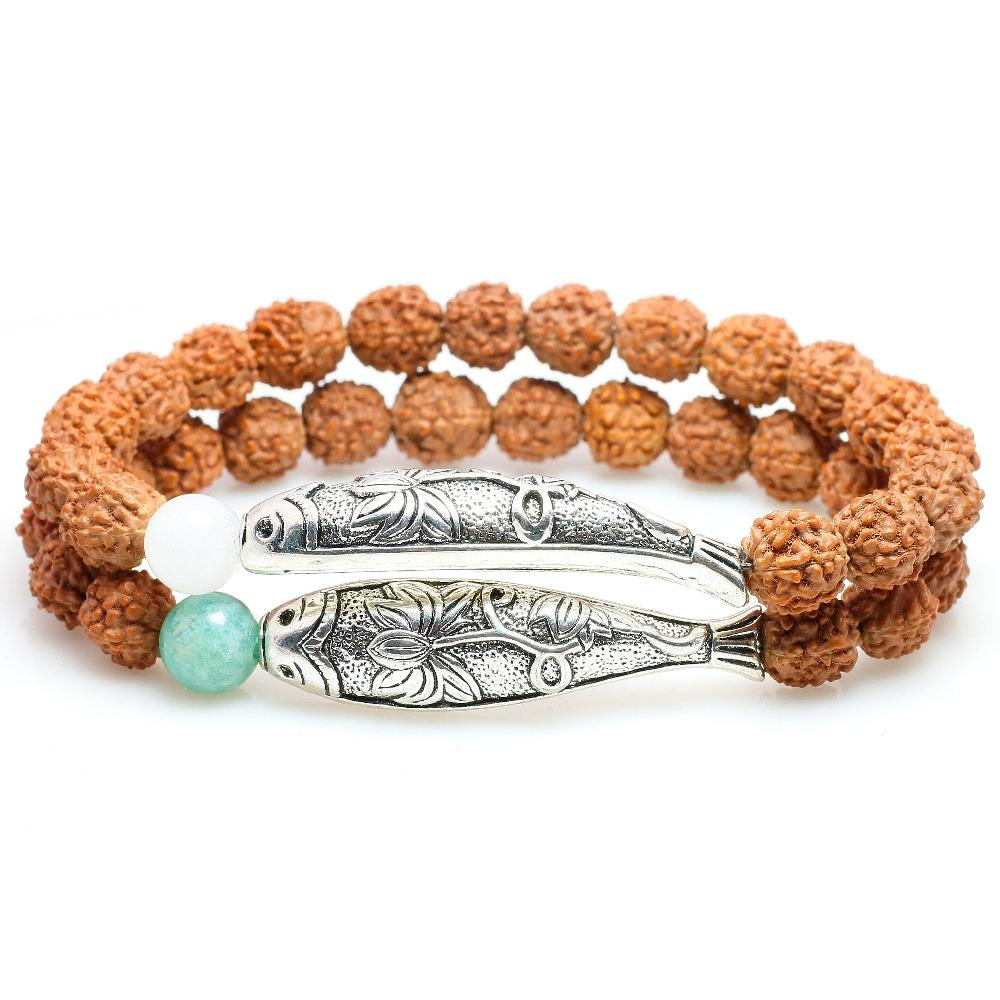 efaa4223b New Trend Rudraksha Seed Beads With Amazon Stone Silver Lotus&Fish Charm  Bracelet For Women White Chalcedony Yoga OM Jewelry Baby Bangle Bracelet  Magnetic ...