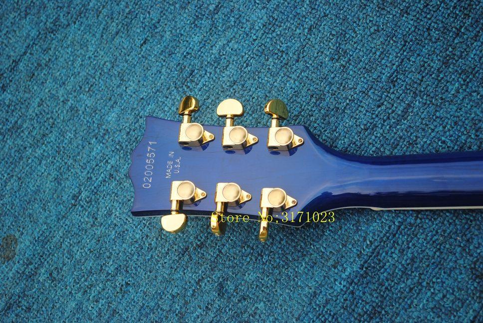 Оптовые гитары синий пользовательские 3 пикапы электрогитара с тремоло золото аппаратные горячие