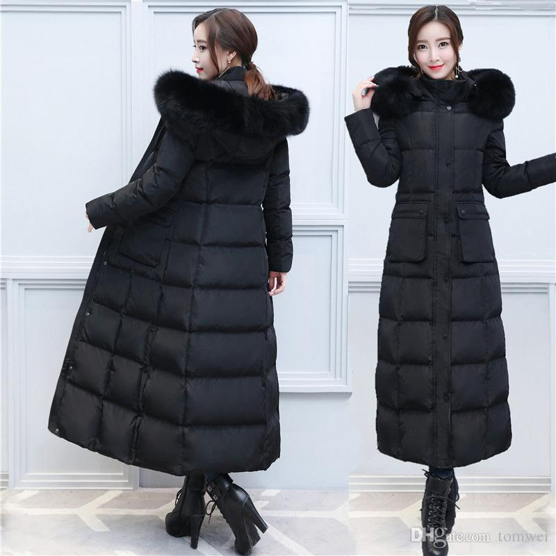 122b606a1 Extra Long Down Jacket Female Winter Parkas Snow Coats Real Fox Fur Collar  Thicken Warm Outerwear Overcoat Tops Luxury High Quality 2018