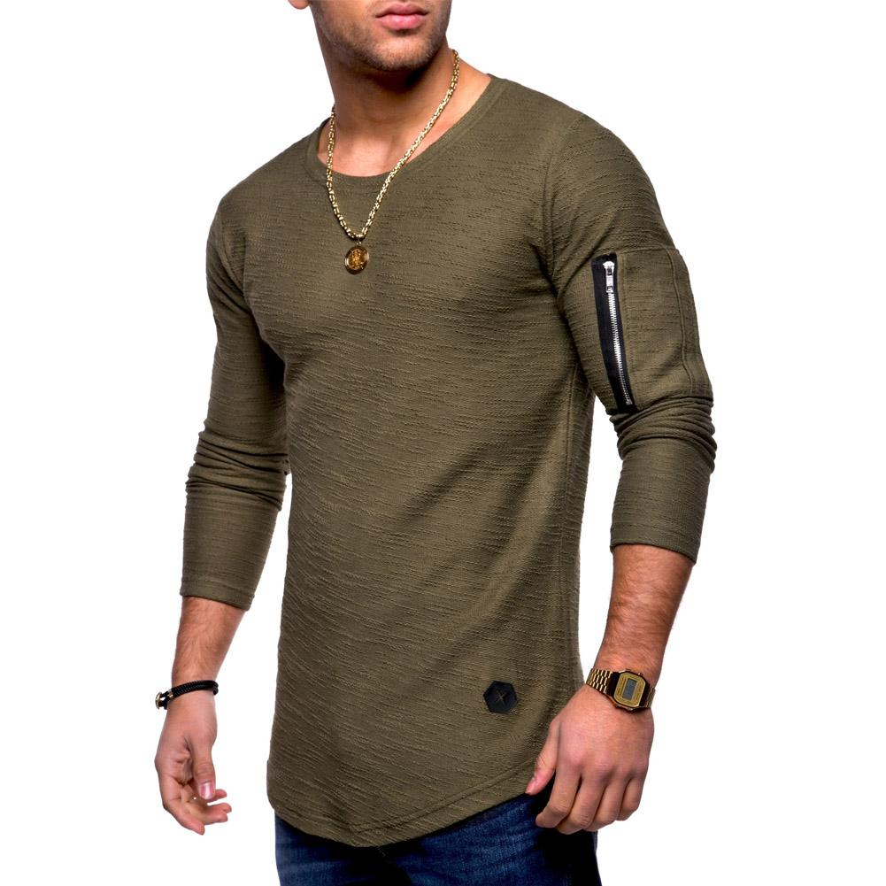 Fashion Men S Slim Fit O Neck Long Sleeve Muscle Tee T Shirt Casual Tops  Blouse New Casual Cotton Polyester Solid Full Hot Sale Tee Shirts Design T  Shirts ... b27055b65121