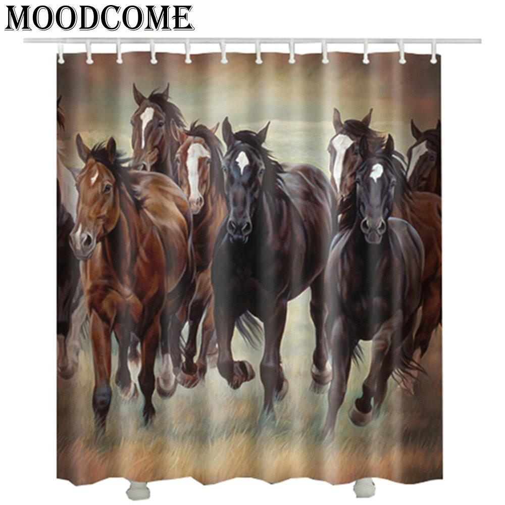 2019 3D Horse Bathroom Shower Curtain 2017 New Design Polyester Fabric Popular Hot Sale Animal Horses Bath Curtains From Caley 2891