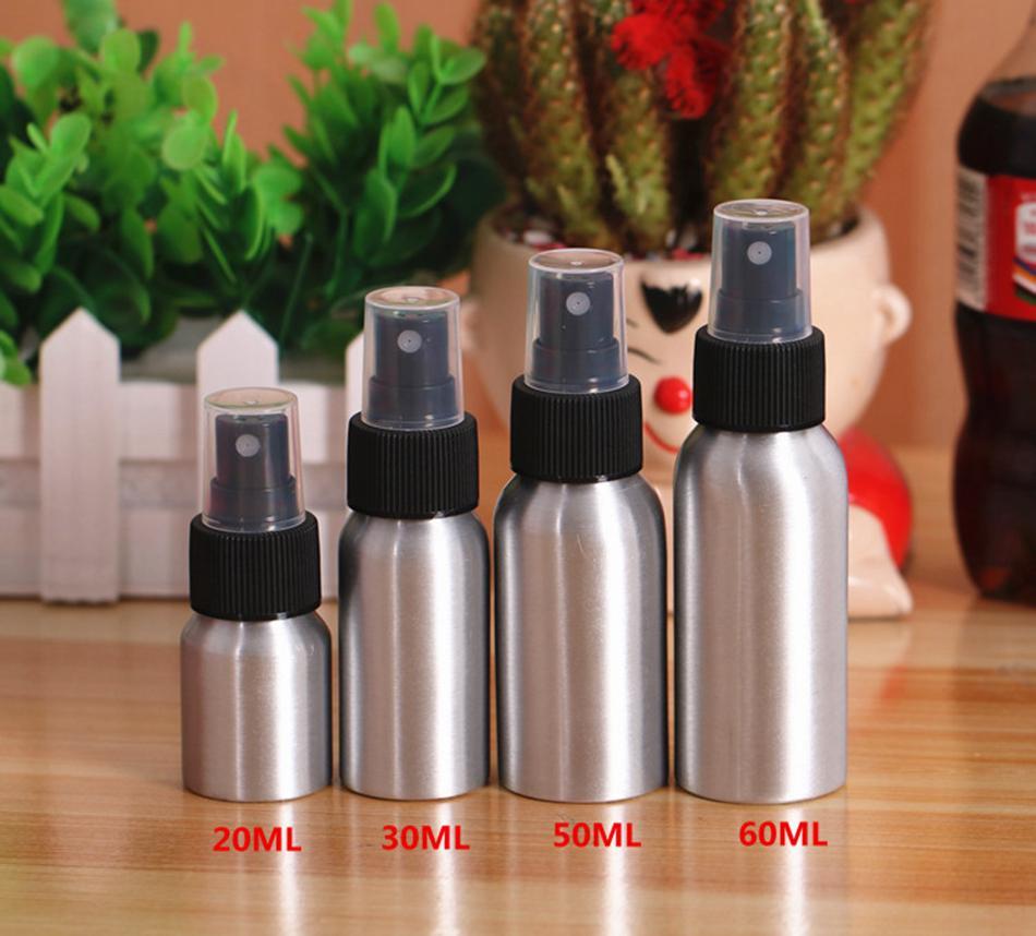 30 ml 50 ml 100 ml vuoto alluminio metallo spray atomizzatore bottiglia nebbia spray riutilizzabile nero pompa atomizzatore l'imballaggio cosmetico strumento OOA4926