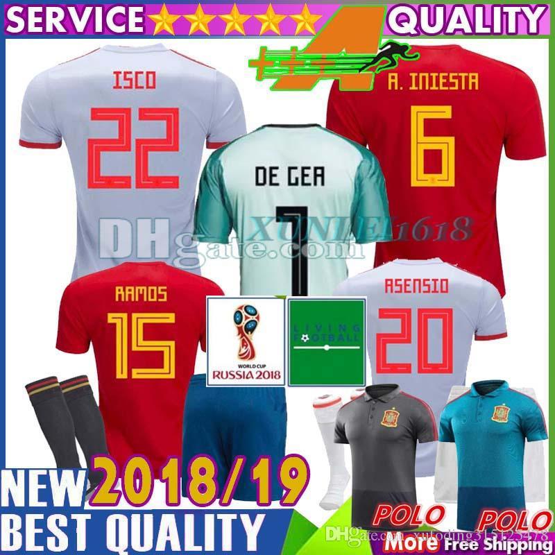 2018 Spain Soccer Jersey Home Goalkeeper De Gea Green Camiseta Espana  Football Shirt A.Iniesta David Silva Ramos Isco Morata Asensio Piqué Saul  Por ... e810dcdb99d15