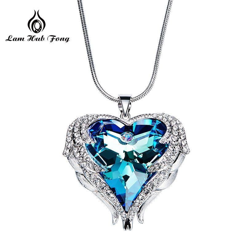 94df4a48331d Compre Cristales Collares Mujeres Colgante Collar En Forma De Corazón Azul  Púrpura AB Joyería De Moda De Lujo Rhinestone Austriaco Al Por Mayor A   39.12 Del ...