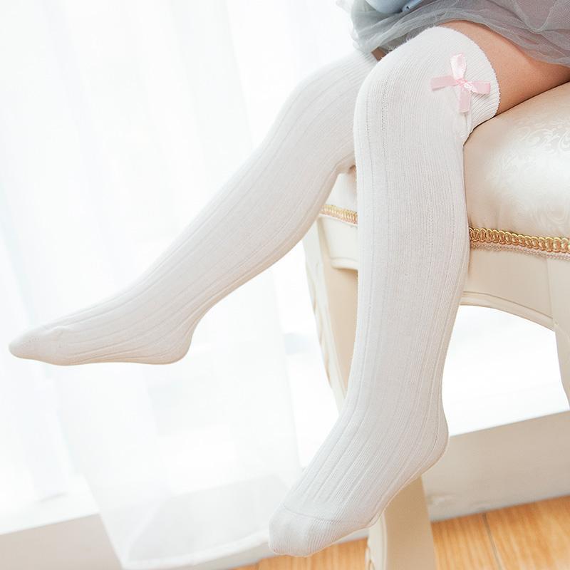 9d277e6e0 KIDS Baby Girl Long Socks Over The Knee high Sock Bow Coon Boneless  Children s Princess Socks Solid White Black Leg Warmers