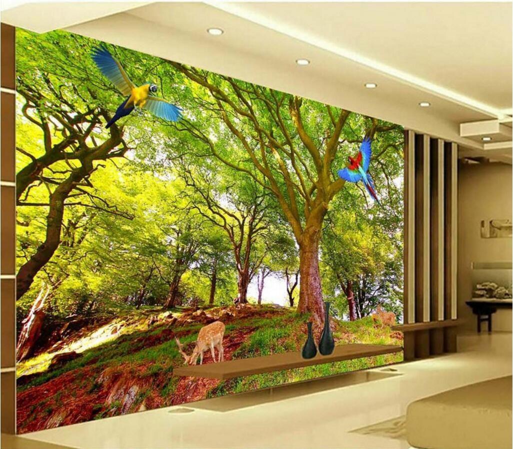3d Wall Paper For Living Room Custom Photo Tree Landscape 3d Tv ...