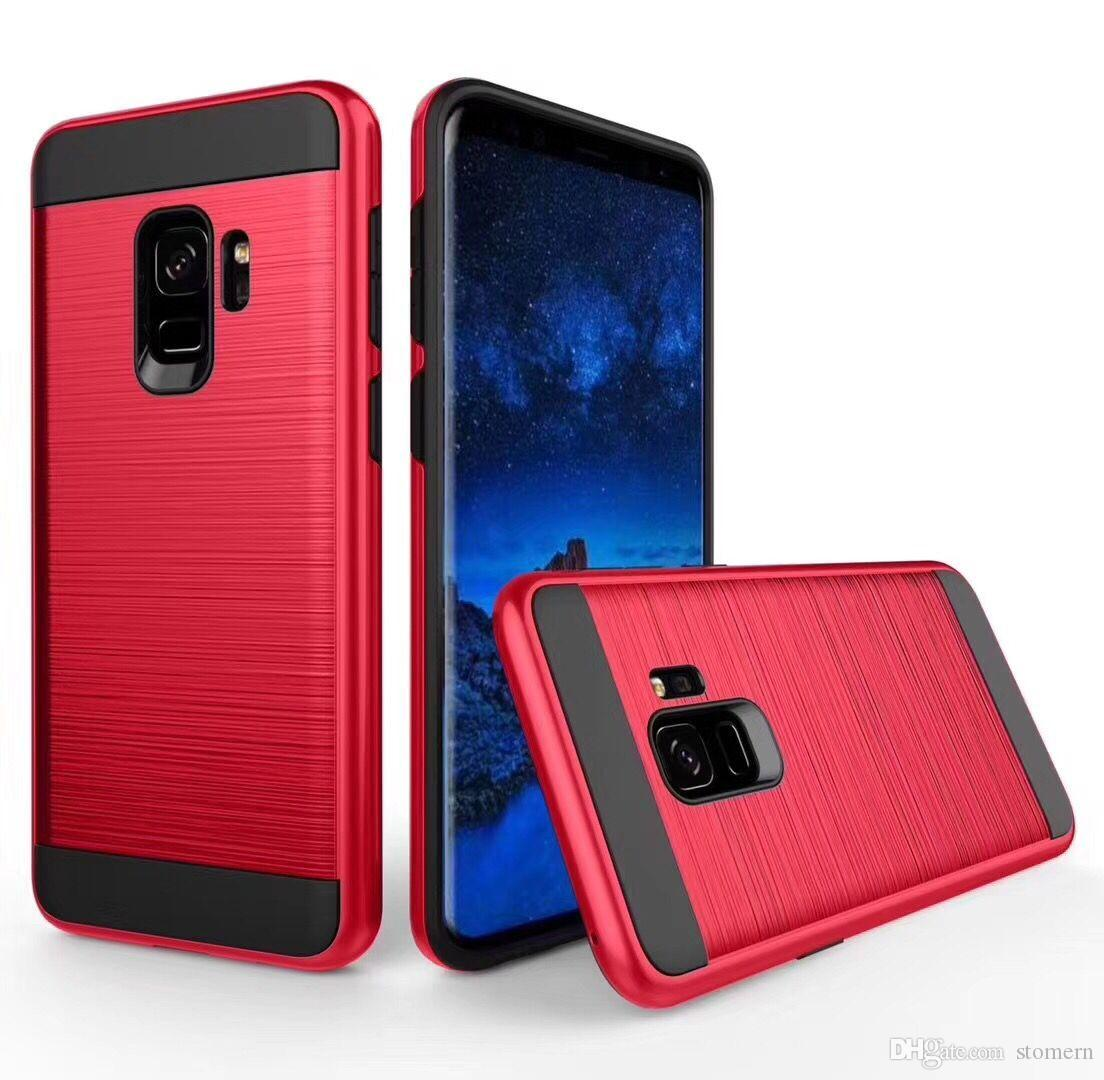 For Samsung Galaxy S9 Note 8 9 5 4 3 J3 J7 2017 J327p Case Brushed Metal Bumper With Cover A5 A520 Shockproof Armor Rugged Silicone Rubber Hard Plastic Phone Back