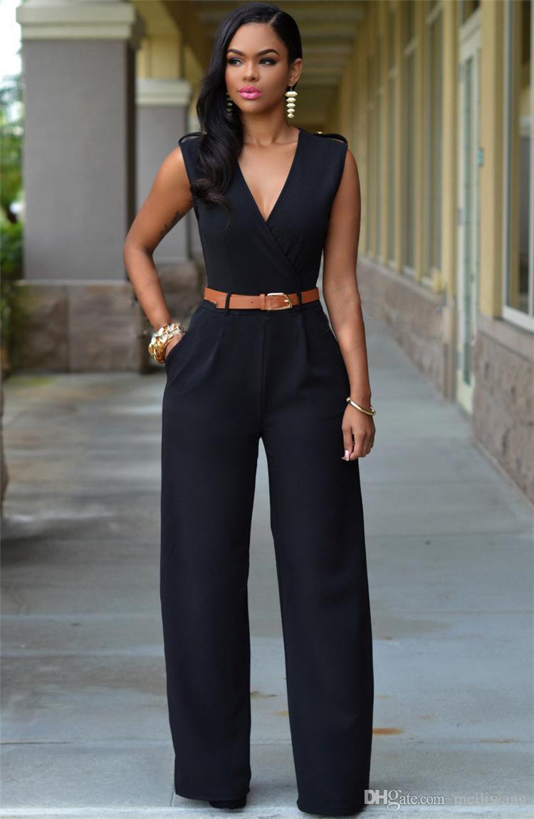 Pantalones de pierna ancha con cuello en V de alta cintura de moda al por mayor de las mujeres traje irregular con correa de mujer sudaderas top clothing