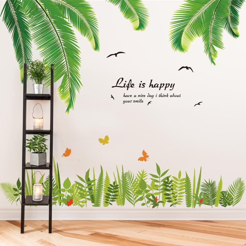 shijuehezi green grass wall stickers vinyl diy tropical palm leaves