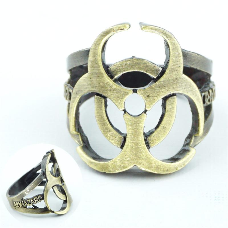 2018 Fashion Resident Evil Toxic Waste Symbol Ring Bronze Meatl