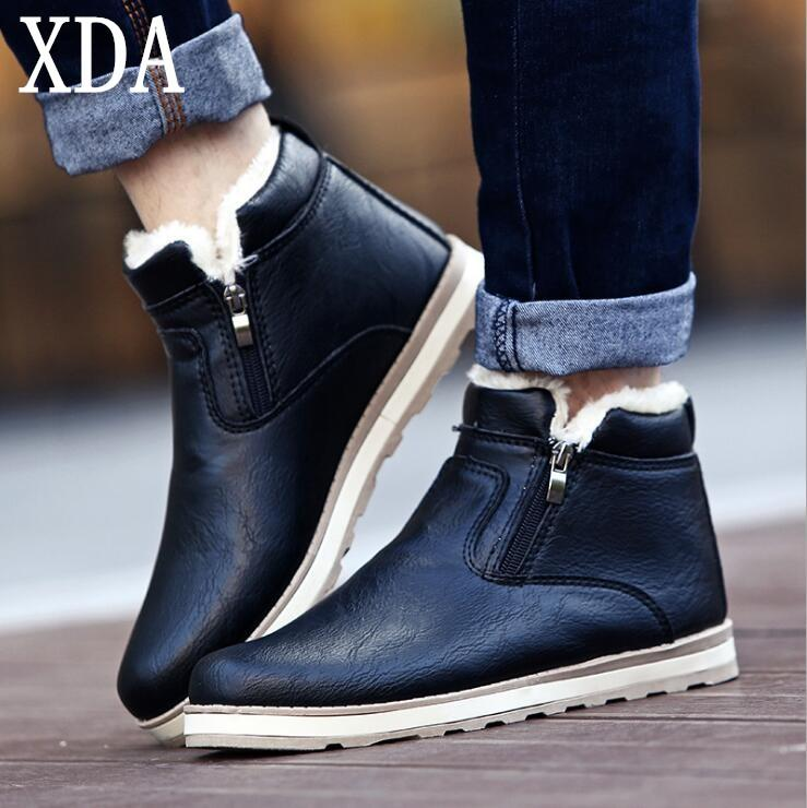 f2446bc8100c XDA 2019 Men Boots Warm Plush Mens Winter Shoes Fashion Men Snow Boots  Zipper Male Ankle Black Add Cotton Shoes W950
