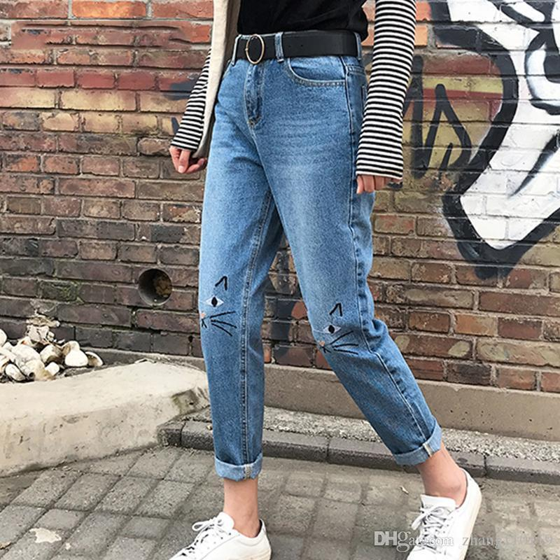 2de26f74050 New High Waist Jeans Female 2018 Autumn Winter Boyfriend Jeans For Women  Denim Pants Mom Jeans Femme With Cat Embroidery