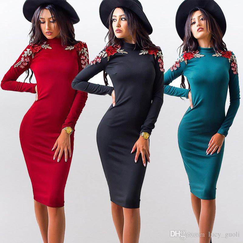 b63ab62c6c0 Autumn Fashion Women Tight Dress Casual O Neck Long Sleeved Appliques  Dresses Sexy Bodycon Bandage Knee Length Pencil Dress Hot Casual Dress Plus  Size Party ...