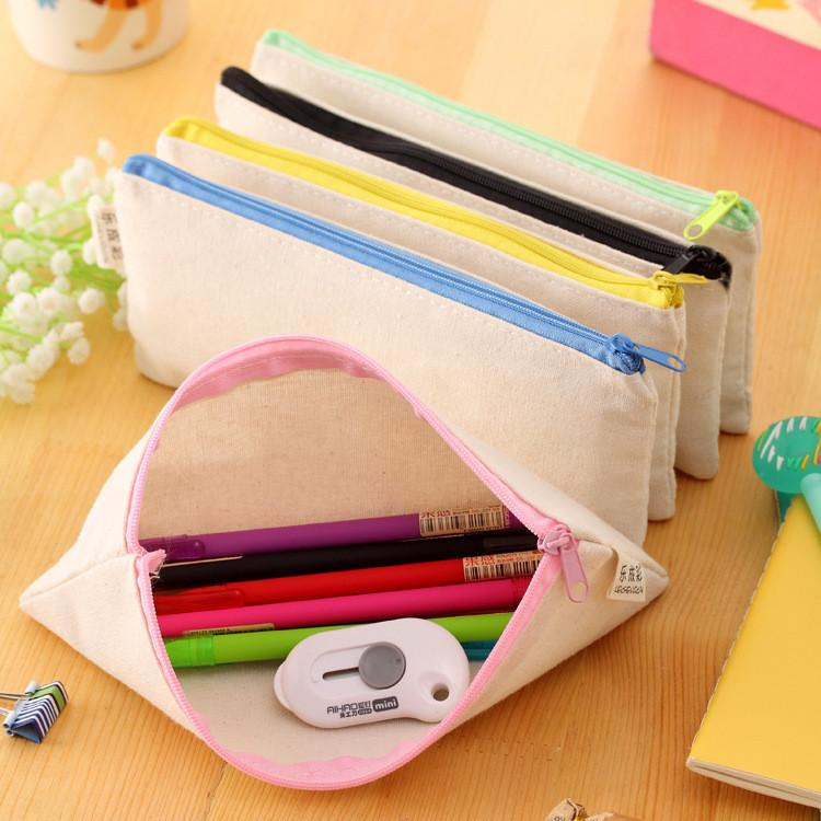 88b26a795a White Canvas Blank Plain Zipper Pencil Pen Bags Stationery Cases ...