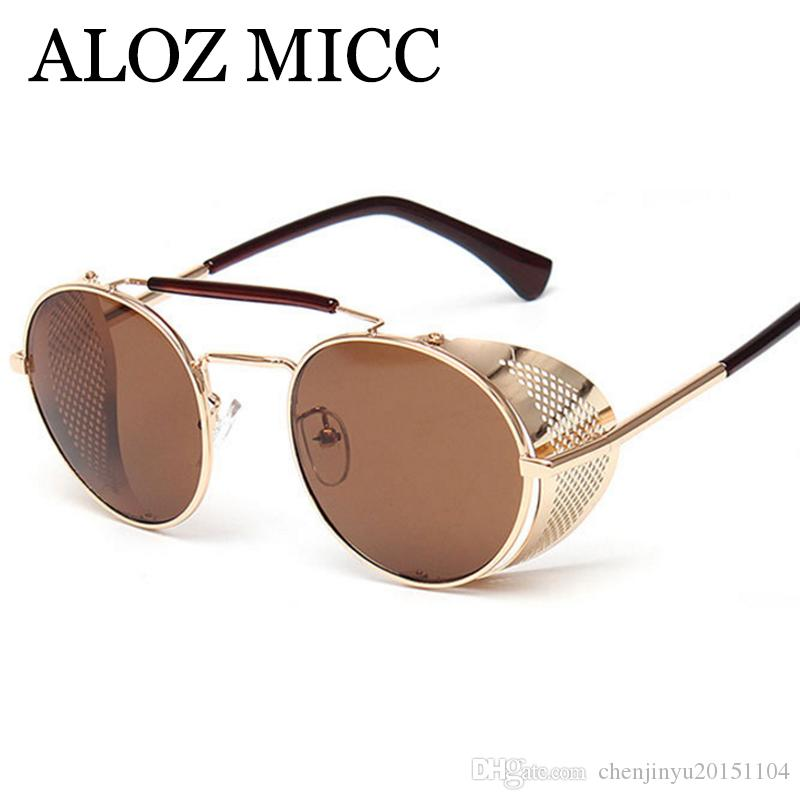 3f05a61942b ALOZ MICC Round Sunglasses Women 2018 Brand Designer Steam Punk Sun Glasses  Men Metal Top Quality Eyewear UV400 A603 Cat Eye Sunglasses Round Sunglasses  ...