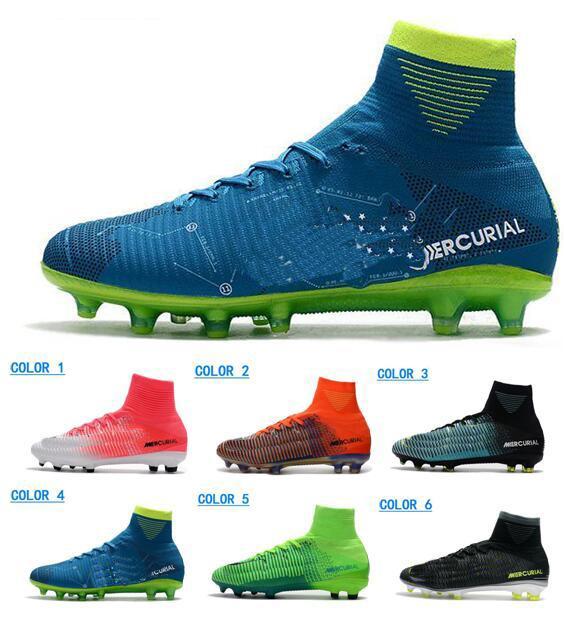 Купить Оптом 2018 Мужские Mercurial Superfly V SX Neymar AG Мужчины  Футбольные Бутсы Высокое Качество FG Футбольная Обувь Кожа CR7 Футбольная  Обувь Мужские ... 579330d53e3