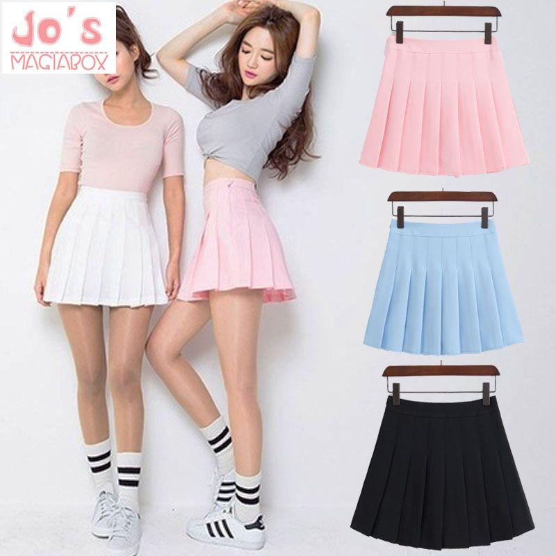 62a054b042b 2019 2018 New Spring High Waist Ball Pleated Skirts Harajuku Denim Skirts  Solid A Line Sailor Skirt Plus Size Japanese School Uniform D1891801 From  Yizhan05 ...