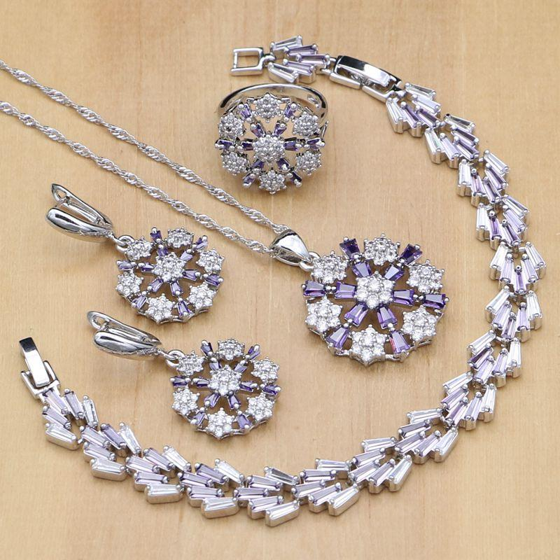 6756edb3e412 Compre Conjuntos De Joyas De Plata Con Forma De Flor 925 Circón Púrpura  Cuentas De Cristal Blanco Para Mujer Pendientes   Colgante   Anillos    Pulsera ...