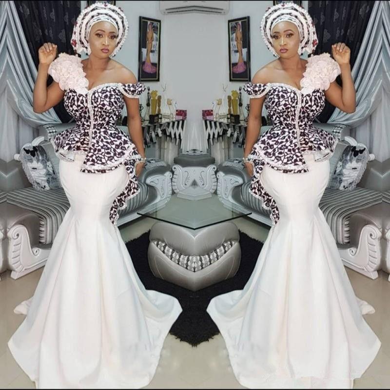 Стильные платья по выпускным платьям Asoebi Mermaid Sexy Off Off Beed Clace Applique Peplum Dubai Party Pressures Гламурный атласная разведка Отель Вечерние платья
