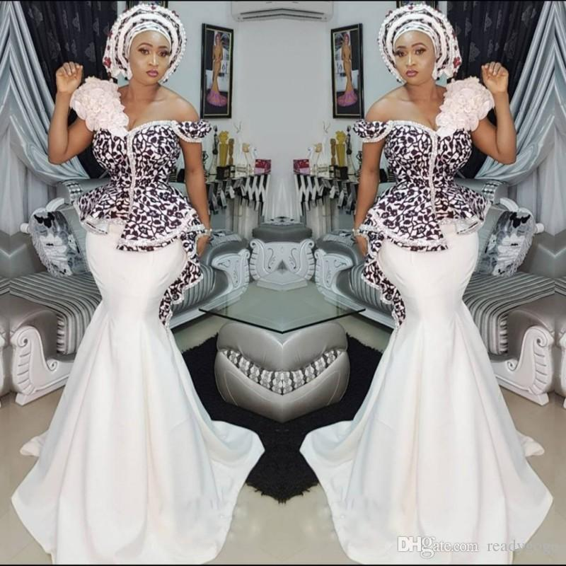 Stylish AsoEbi Mermaid Prom Dresses Sexy Off Shoulder Lace Applique Peplum Dubai Party Dresses Glamorous Satin Sweep Train Evening Dresses