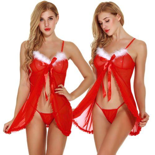 afee36556cbf4 Women Lingerie Lace Robe Babydoll Dress Perspective Sleepwear G-string  Underwear Nightwear 2pcs Outfits Women Clothes Set