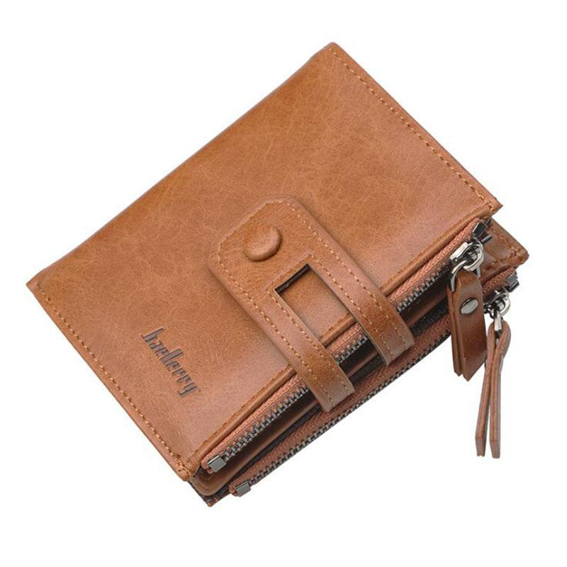 9bdfadb9ef9f Baellerry Leather Wallet Men Short Clutch Bag Man Male Large Capacity Double  Zippers Business Small Coin Purse Mini Credit Walet Zip Around Wallet Kids  ...