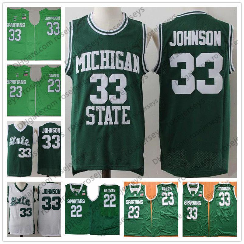 separation shoes cf5ca ddaac NCAA Michigan State Spartans  33 Magic LA Earvin Johnson Vintage Jersey  23  Draymond White MSU Apple Green 2019 Retro Jerseys Men s S-3XL