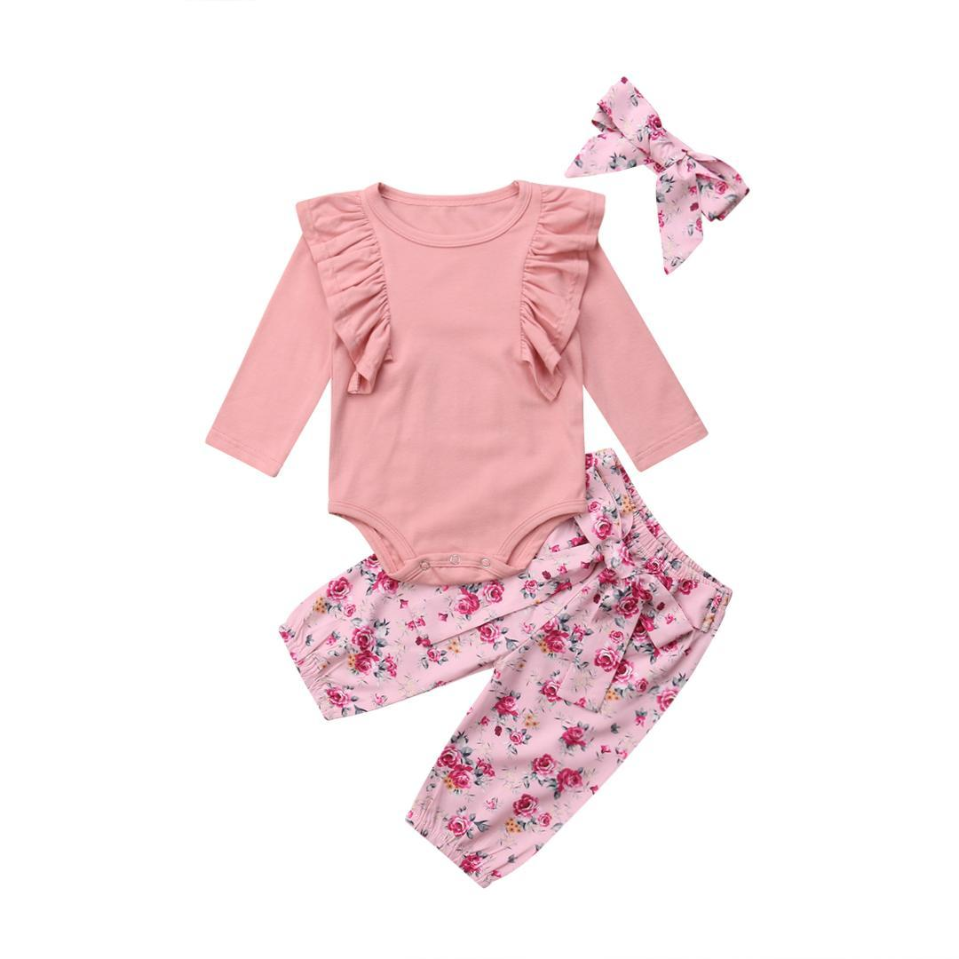 34c7974e 3pcs Newborn Baby Girls Clothes Solid Ruffle Top T-Shirt +Floral Harem  Pants Bowknot Outfits Kids Cotton Children Clothing Set