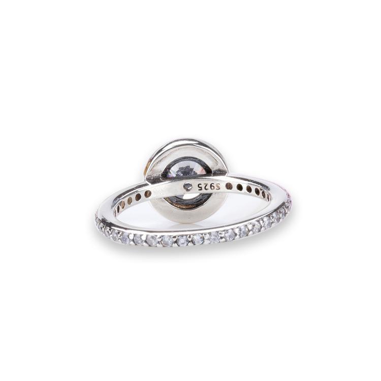 Real 925 Sterling Silver CZ Diamond RING con LOGO y caja original Fit Pandora style Wedding Ring Joyería de compromiso para mujer