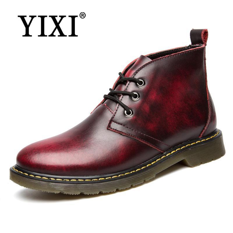 7b8d74a8 Compre YIXI Hombres De Cuero Genuino Botines Zapatos De Trabajo De Cuero De  La Marca Superior Zapatos De Hombre Botas Planas Hombre Occidental Botas ...