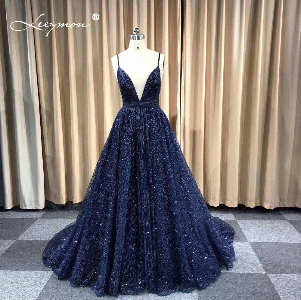 2019 Leeymon Custom Made Sexy Glitter Deep V Neck Prom Dresses Elegant A  Line Backless Cheap Long Dress For Evening Party C18111601 From Linmei0005 39ba74ee6044