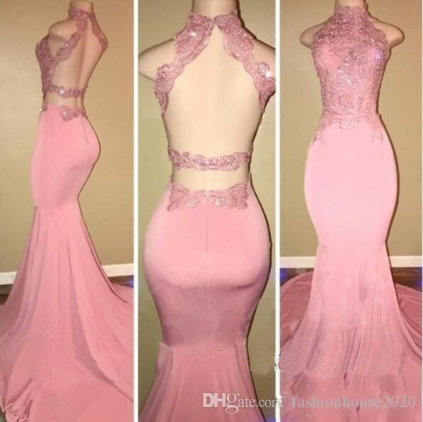 f6216a9da985 Sexy Pink High Neck Mermaid Prom Dresses 2018 Criss Cross Backless Lace  Appliques Sequined Cutaway Sides Satin Formal Evening Party Gowns Prom Dress  White ...