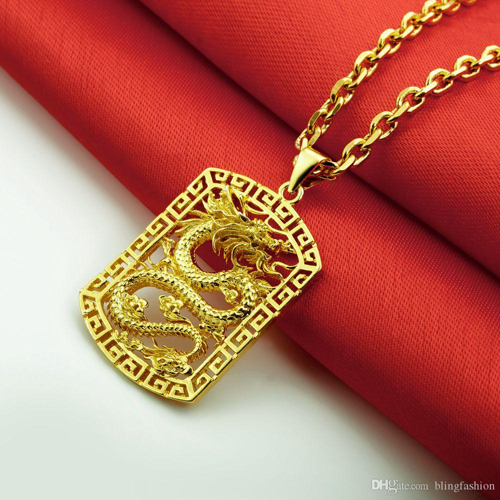 Fly Dragon Pattern Pendant Necklace Chain 18k Yellow Gold Filled Solid Handsome Mens Gift Statement Jewelry