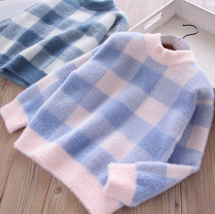 Children Plaid Sweater Girls Plush Knitting Princess Pullover Kids