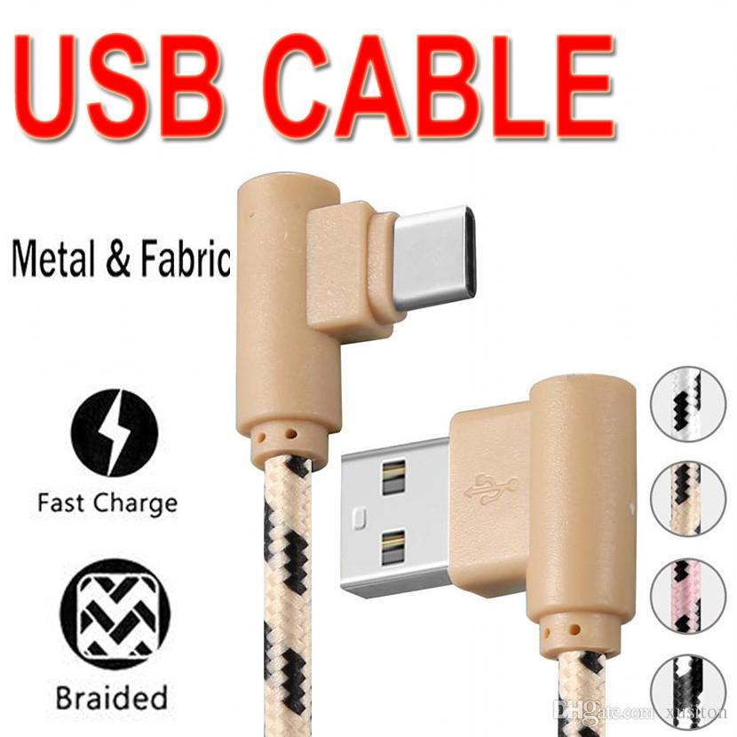 90 Degree Double Elbow Charger Sync Data Cable Nylon Braided Android Micro USB Cable Type C USB Charging Cables Opp Package XCTEB