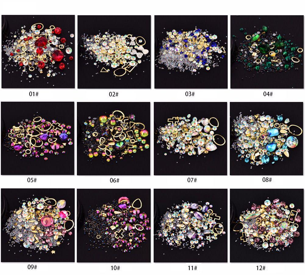 Nail Art Décoration charme Perles Gem strass creux Shell Flake Flatback Rivet Mixte Brillant Glitter Bricolage Accessoires 3D