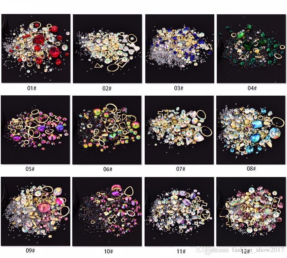 Nail Art Decoração Charme Gem Beads Rhinestone oco Shell Flake Flatback Rivet Mixed brilhante Glitter 3D DIY Acessórios