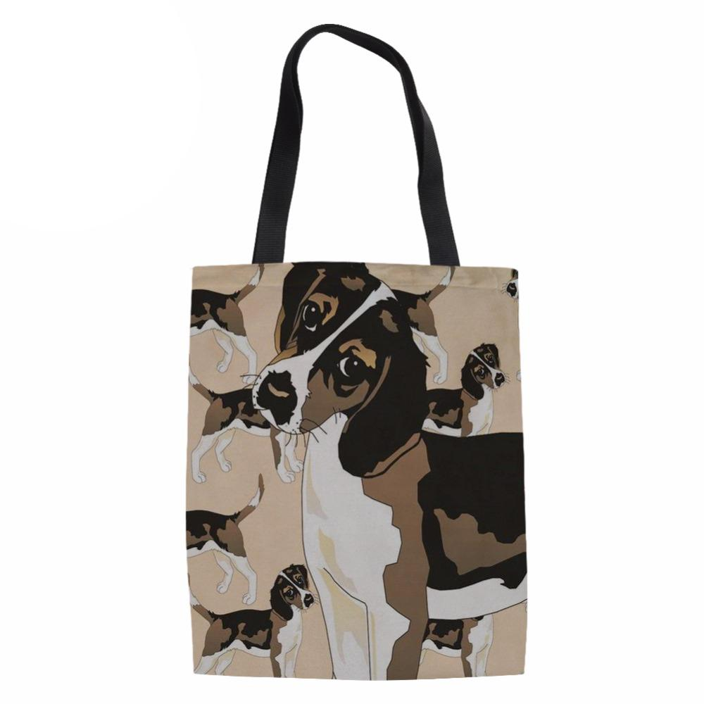 Shopping Bag Women Canvas Tote Bag Ladies Cute Beagle Dog Printed Beach Bags  For Females Large Capacity Handbags Recycle Custom Printed Bags Jute Bags  ... 9f50b2bbda
