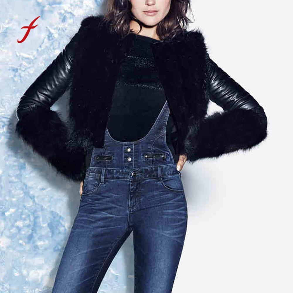 dcbc615b2 FEITONG Fashion Jackets For Women Winter Warmer Coat Motorcycle Jacket  Leather Faux Fur Outwear Cardigan Casual Black Overcoat
