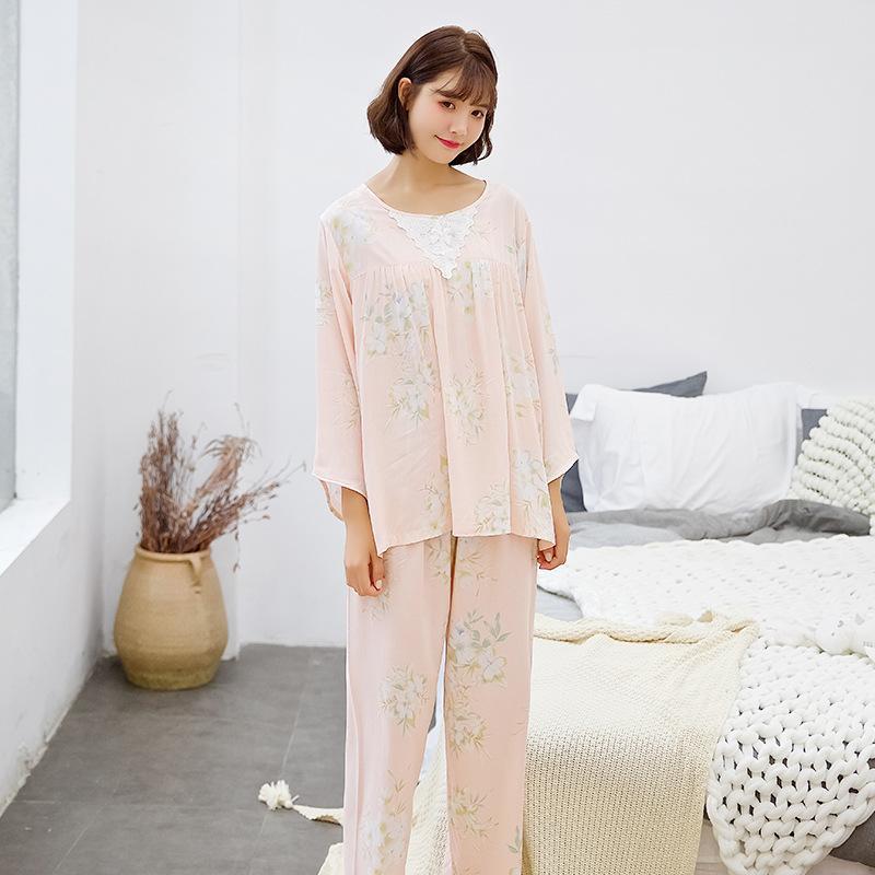 6372b8f35 Compre Nuevos Conjuntos De Pijamas Primavera Otoño Ropa De Dormir Floral Pijama  Mujer Cuello Redondo Homewear Pijamas De Algodón Para Mujeres Regalo De ...