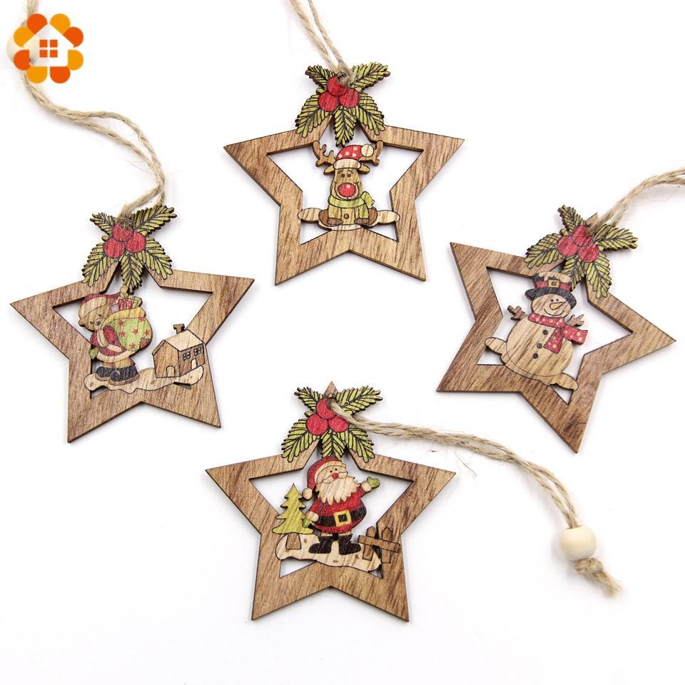 Christmas Star Wooden Pendants Ornaments Xmas Tree Ornament Diy Wood
