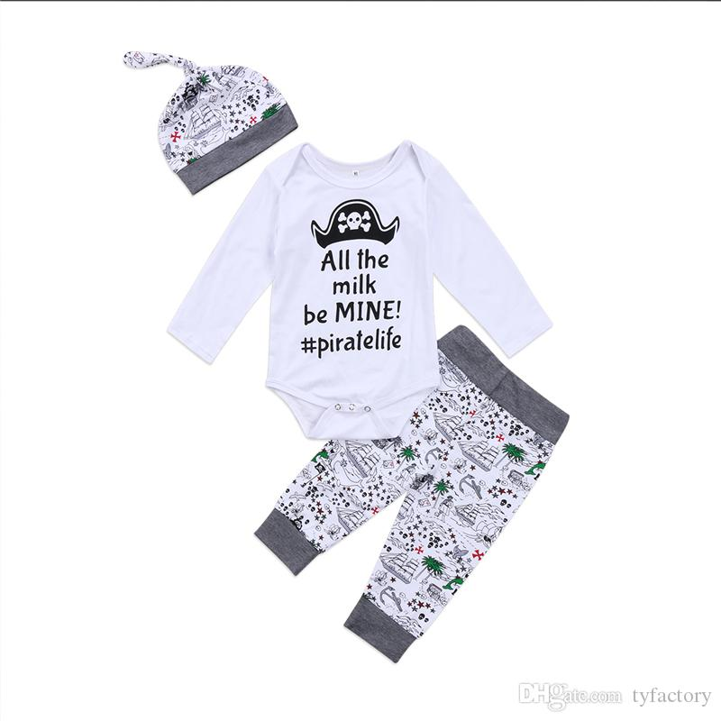 c4184c851 Newborn Baby Boys Clothing Toddler T-shirt+Pants+Hat 3PCS set Skull Heads  Pirate Outfit Infant Boutique Casual Kids Costume Children Pajamas