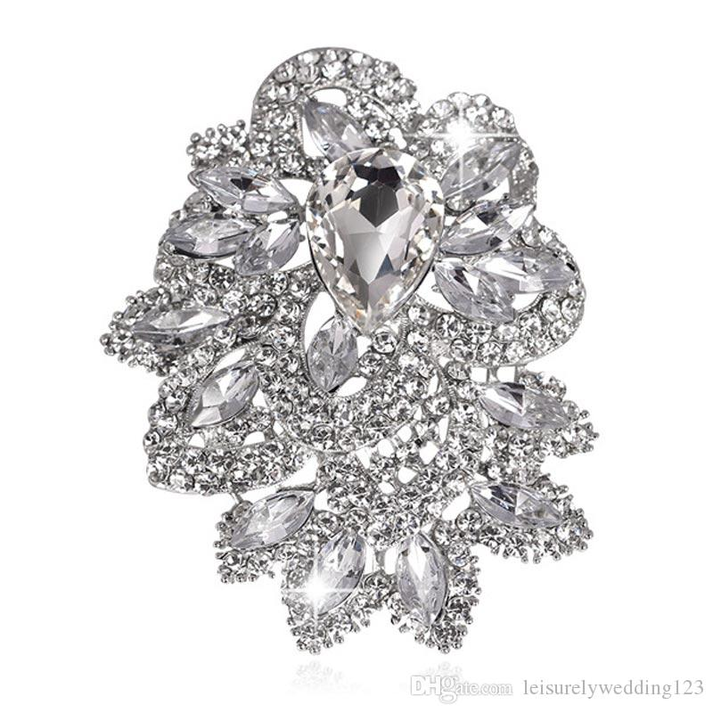 Clear rhinestone Extra Large Size Luxurious Atmospheric crystal Brooch Fashion Brooch Flowering Pins Jewelry for coat garment