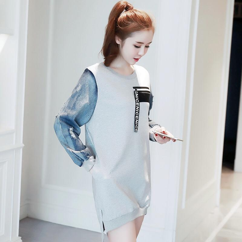 f2c1551bcc2c8 2019 Mama Maternity Clothing Spring Autumn Maternity Fashion Outerwear Top  Cowboy Patchwork Dress Crewnecks T Shirt From Rainbowny, $54.3   DHgate.Com