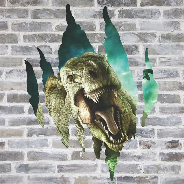 % 3D Cartoon dinosaurs through the wall stickers jurassic park home decoration kids room wall decal movie animals mural art
