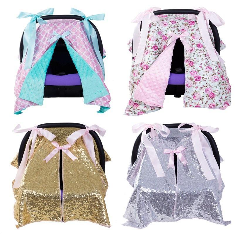 2018 Baby Car Seat Blanket Cover Fashion Bow Newborn Girls Soft Safety Canopy Nursing Multi Use From Jasmineer 2706